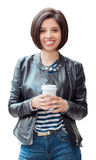 Miling Young Latin Hispanic Girl Woman With Short Dark Black Hair Bob Holding Cup Of Coffee Tea Isolated On White Background