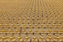 Milion złotych Buddha figurek w Wacie Phra Dhammakaya świątynia Thailand bangkoku dłoni Obraz Royalty Free