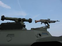 Militär - Becken mit Maschinengewehr Stockfotos