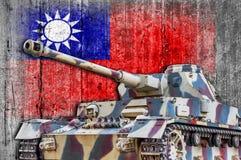 Militär behållare med den konkreta Taiwan flaggan Royaltyfri Bild