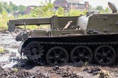 Militär bulldozerdetalj Arkivbild