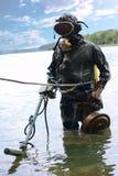 Militär dykare för hans arbete fotografering för bildbyråer
