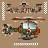 Militär helikoptertecknad film på brun bakgrund royaltyfri illustrationer