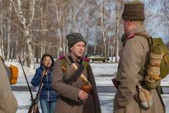 Militär-historische Rekonstruktion von Kämpfen von Zeiten der ersten Welt auf dem Borodino fangen am 13. März 2016 auf stockfotografie