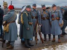 Militär-historische Rekonstruktion von Kämpfen von Zeiten der ersten Welt auf dem Borodino fangen am 13. März 2016 auf Stockfoto