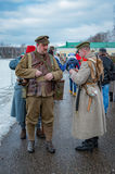 Militär-historische Rekonstruktion von Kämpfen von Zeiten der ersten Welt auf dem Borodino fangen am 13. März 2016 auf Stockbilder