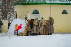 Militär-historische Rekonstruktion von Kämpfen von Zeiten der ersten Welt auf dem Borodino fangen am 13. März 2016 auf Lizenzfreies Stockfoto