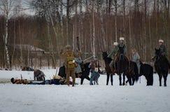 Militär-historische Rekonstruktion von Kämpfen von Zeiten des ersten Weltkriegs, Borodino, am 13. März 2016 stockbild