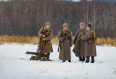 Militär-historische Rekonstruktion von Kämpfen von Zeiten des ersten Weltkriegs, Borodino, am 13. März 2016 stockfotografie