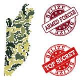 Militär kamouflagesammansättning av översikten av Belize och hemliga skyddsremsor för Grunge royaltyfri illustrationer