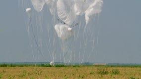 Militär landning av tung last med bromsen hoppa fallskärm i fältet arkivfilmer