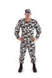 Militär man på en vit bakgrund Arkivfoton