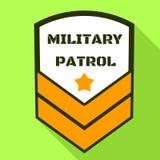Militär patrulllogo, plan stil royaltyfri illustrationer