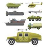 Militär samling för vektor för försvar för harnesk för teknik för bransch för stridighet för transport för teknikarmékrig vektor illustrationer