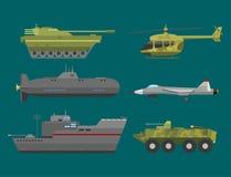 Militär samling för vektor för försvar för harnesk för teknik för bransch för stridighet för transport för teknikarmékrig royaltyfri illustrationer