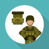 Militär soldatdesign, vektorillustration Arkivbilder