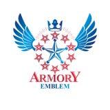 Militär spielt Emblem, das geflügelte Siegpreissymbol xxxx_1, das unter Verwendung geschaffen wird stock abbildung