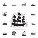 militär symbol för seglingskepp Detaljerad uppsättning av skeppsymboler Högvärdig grafisk design En av samlingssymbolerna för web vektor illustrationer