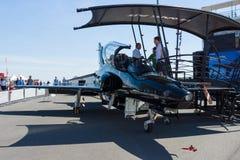 Militär T2 för hök för hök 128 för instruktörflygplan Arkivfoton
