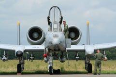 Militär U.S.A.F.-A-10 spritzt Stockfoto