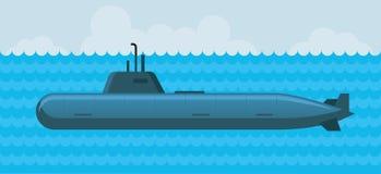 Militär ubåt under vatten Royaltyfri Illustrationer