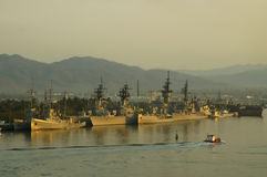 Militär versendet Sonnenuntergang Lizenzfreie Stockfotografie