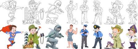 Militär yrkeuppsättning för tecknad film Royaltyfri Bild