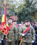 12/01/2018 - Militära bildande som firar den rumänska nationella dagen i Timisoara, Rumänien royaltyfria foton