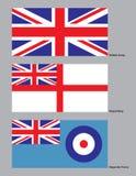 militära brittiska flaggor Royaltyfri Fotografi