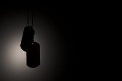 Militära legitimationetiketter på ett mörker arkivfoton