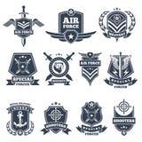 Militära logoer och emblem Armésymboler på vit bakgrund stock illustrationer