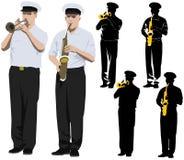 militära musiker royaltyfri illustrationer