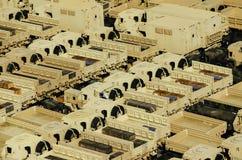 Militära trans.lastbilar Arkivfoto