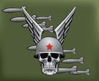Militären bombarderar och skallen royaltyfri illustrationer