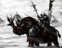 Militären ställa i skuggan på en noshörning Arkivfoton