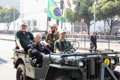 Militären ståtar av självständighetsdagen i Rio de Janeiro, Brasilien arkivbild