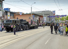 Militären ståtar för den 70th årsdagen av segern över fas Royaltyfri Fotografi