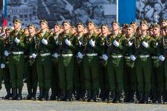 Militären ståtar i Moskva, Ryssland, 2015 Arkivbild