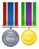 Militären utformar medaljer stock illustrationer