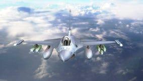 Militärfliegen des jet F-16 über den Wolken stock video