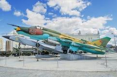 Militärflugzeuge - das Museum stellt militärische Ausrüstung aus lizenzfreies stockfoto