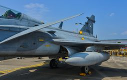 Militärflugzeuge für Anzeige in Singapur Stockfoto
