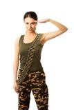 Militärfrau, die Grußgeste macht Lizenzfreies Stockfoto