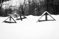 Militärfriedhof vom ersten Weltkrieg am Winter Stockfotografie