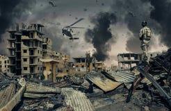 Militärhubschrauber und Kräfte in zerstörter Stadt lizenzfreie abbildung