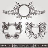 Militärische heraldische alte Fahnen des Kampfes oder Weinleseküsten von Armen Lizenzfreies Stockbild
