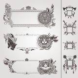 Militärische heraldische Fahnen mit Waffe und Löwen Stockbild