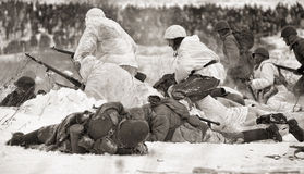 Militärische historische Rekonstruktion des Zweiten Weltkrieges Stockbild