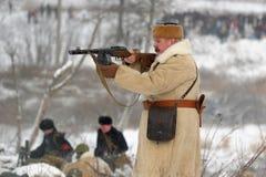 Militärische historische Rekonstruktion des Zweiten Weltkrieges Lizenzfreie Stockfotos
