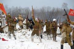 Militärische historische Rekonstruktion des Zweiten Weltkrieges Lizenzfreie Stockbilder